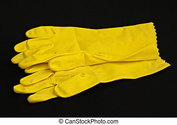 Yellow latex gloves - Pair of household yellow latex gloves...