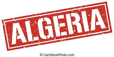 Algeria red square stamp