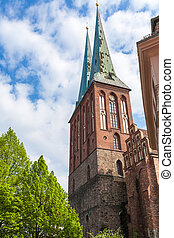 The restored Cathedral of St. Nicholas in Berlin, Germany -...