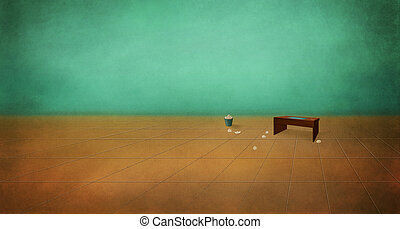 Table in an empty room. Depression, despair. Boredom....