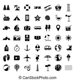 Summer holiday icon set - Black and white summer holiday...