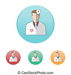 Otolaryngologist. Doctor in white coat with frontal...
