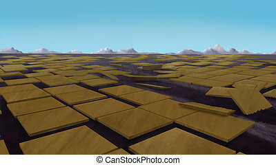 Brown tiles on the ground. - Urbanization concept. Brown...