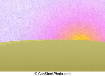Sunset on the purple pink sky. Green meadow, field. Digital...