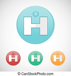Hospital map pointer vector icon set.
