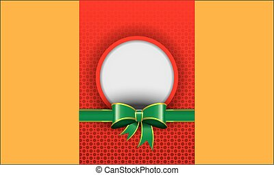 Illustrated template red background with green ribbon banner