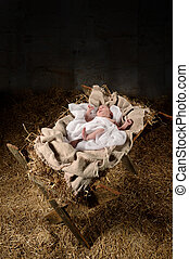 Baby Jesus on a Manger - Baby Jesus on a manger inside old...