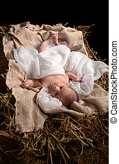 Jesus Resting on a Manger - Jesus resting on a manger over...