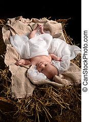 Jesus Resting on a Manger - Jesus resting on a manger over...