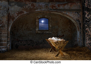 Manger in Old Barn - Empty manger in old barn with window...