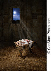 Jesus on the Manger - Baby Jesus resting on a manger with...