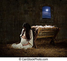 Pregnant Mary Leaning on Manger - Young pregnant Mary...