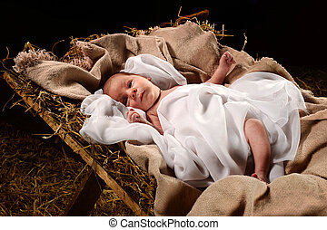 Baby Jesus on the Manger - Baby Jesus when born on a manger...