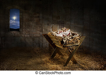 Jesus Resting on a Manger - Jesus resting on a manger while...