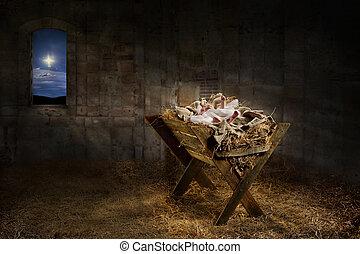 Jesus Resting on a Manger - Jesus resting on a manger while...