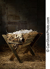 Empty Manger in Stable - Manger filled with hay in stable...