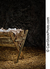 Manger with Clothes in Barn - View of manger on straw...
