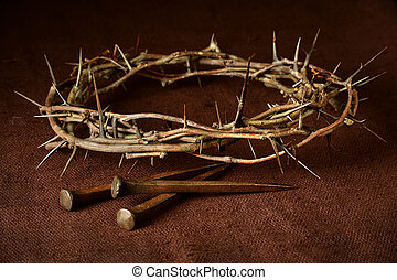 Crown of Thorns and Nails - Crown of thorns and nails over...