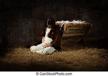 Mary and the Manger on Christmas Eve - Pregnant Mary leaning...