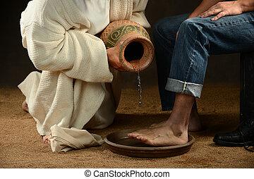 Jesus Washing Feet of Modern Man - Jesus pouring water to...