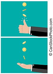 hand of businessman tossing and catches a coin. vector...