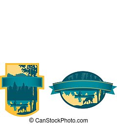 Canoe Label - Pair of labels with a canoe scene illustration...