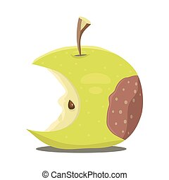 Rotten apple. Vector illustration.