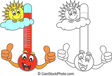 Thermometer with the sun