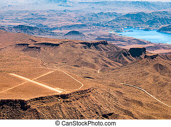 Aerial View of an Airstrip next to Lake Mead