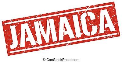 Jamaica red square stamp