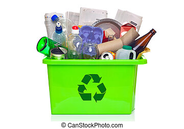 Green recycling bin isolated on white - Photo of a green...