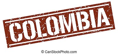 Colombia brown square stamp