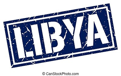 Libya blue square stamp