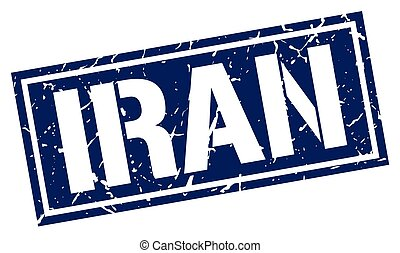 Iran blue square stamp
