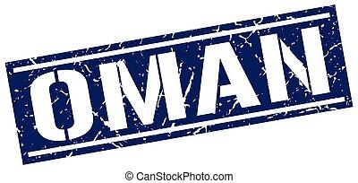 Oman blue square stamp