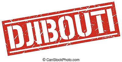 Djibouti red square stamp