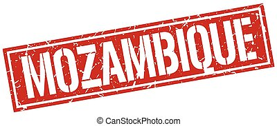 Mozambique red square stamp