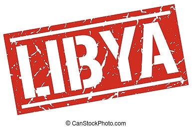 Libya red square stamp