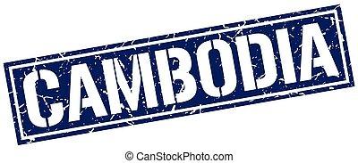 Cambodia blue square stamp