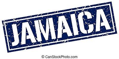 Jamaica blue square stamp