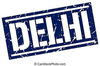 Delhi blue square stamp