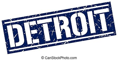 Detroit blue square stamp