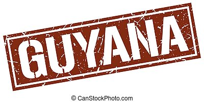 Guyana brown square stamp