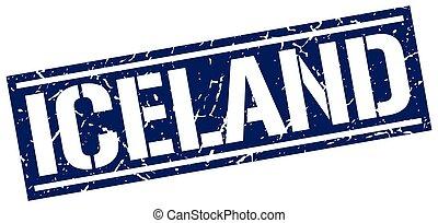Iceland blue square stamp