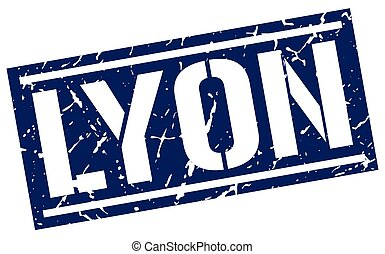 Lyon blue square stamp