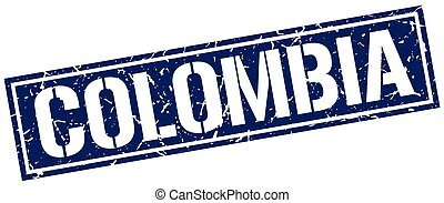 Colombia blue square stamp