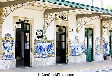 tiles (azulejos) at railway station of Pinhao, Douro Valley,...