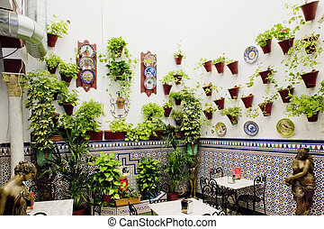 patio restaurant courtyard, Cordoba, Andalusia, Spain