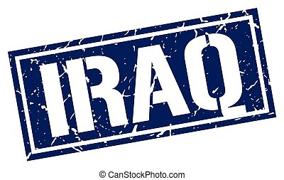 Iraq blue square stamp