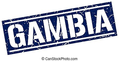 Gambia blue square stamp
